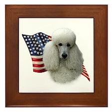 Poodle (Wht) Flag Framed Tile