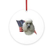 Poodle (Wht) Flag Ornament (Round)
