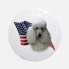 Poodle (Wht) Flag Ornament (Round)