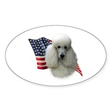 Poodle (Wht) Flag Oval Decal