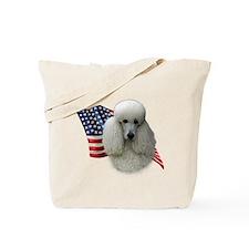 Poodle (Wht) Flag Tote Bag