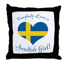 Cute Swedish american swede Throw Pillow
