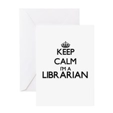 Keep calm I'm a Librarian Greeting Cards