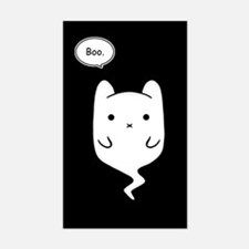 Boo the Ghost Cat Rectangle Decal