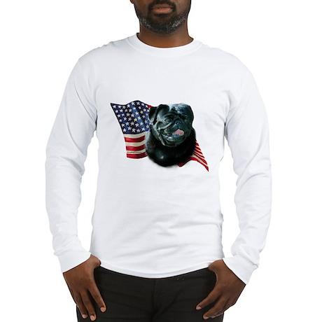 Pug (Blk) Flag Long Sleeve T-Shirt