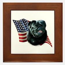 Pug (Blk) Flag Framed Tile
