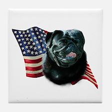 Pug (Blk) Flag Tile Coaster