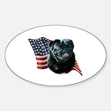 Pug (Blk) Flag Oval Decal