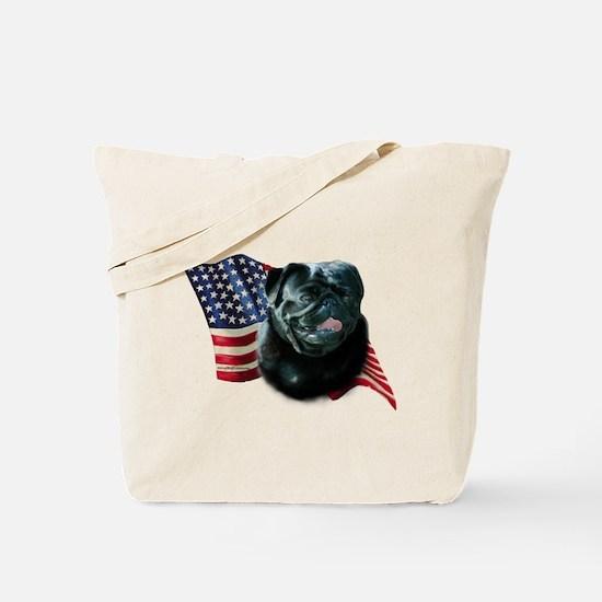 Pug (Blk) Flag Tote Bag