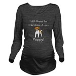 Christmas Puppy Long Sleeve Maternity T-Shirt