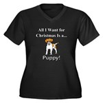 Christmas Pu Women's Plus Size V-Neck Dark T-Shirt