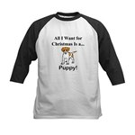 Christmas Puppy Kids Baseball Jersey