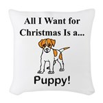 Christmas Puppy Woven Throw Pillow