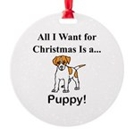 Christmas Puppy Round Ornament
