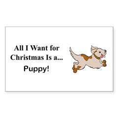 Christmas Puppy Sticker (Rectangle 50 pk)