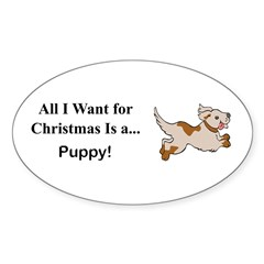 Christmas Puppy Sticker (Oval)