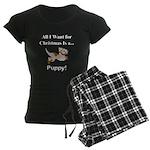 Christmas Puppy Women's Dark Pajamas