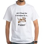 Christmas Puppy White T-Shirt