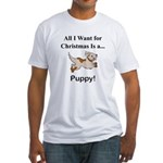 Christmas Puppy Fitted T-Shirt