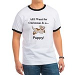 Christmas Puppy Ringer T