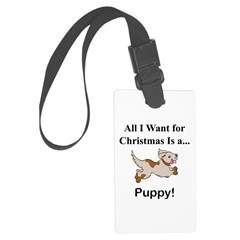 Christmas Puppy Luggage Tag