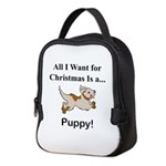 Christmas Puppy Neoprene Lunch Bag