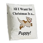 Christmas Puppy Burlap Throw Pillow