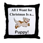 Christmas Puppy Throw Pillow