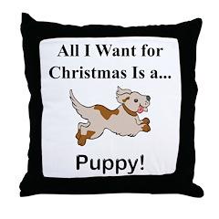 Christmas Puppy Throw Pillow