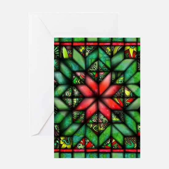 All-over Green Quilt Greeting Card