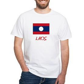 Laos Flag Artistic Red Design T-Shirt