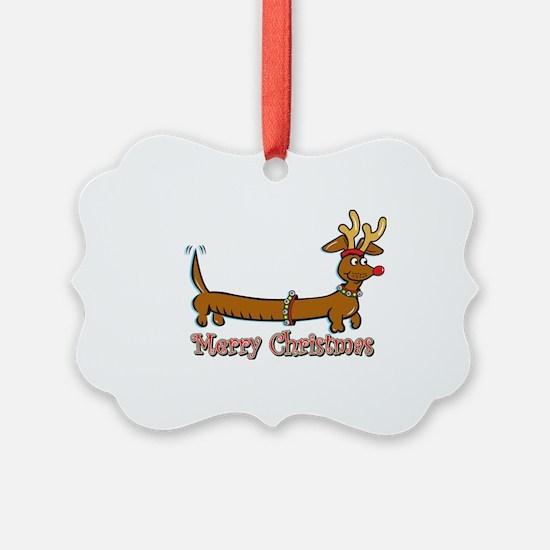 Merry Christmas Dachshund Ornament