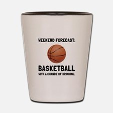 Weekend Forecast Basketball Shot Glass