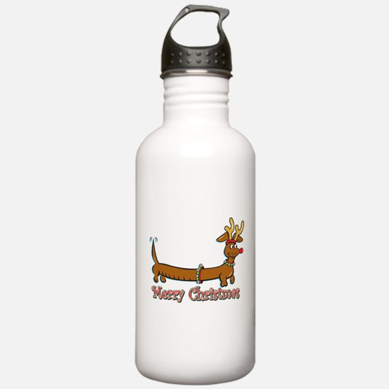 Merry Christmas Dachshund Water Bottle