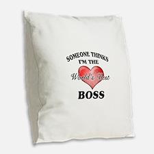 World's Best Boss Burlap Throw Pillow