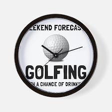 Weekend Forecast Golfing Wall Clock