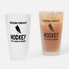 Weekend Forecast Hockey Drinking Glass
