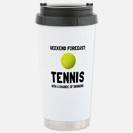 Weekend Forecast Tennis Travel Mug