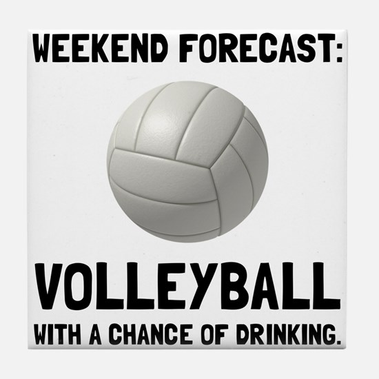 Weekend Forecast Volleyball Tile Coaster