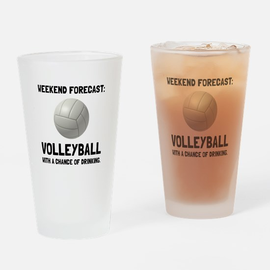 Weekend Forecast Volleyball Drinking Glass