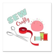 "Sew Crafty Square Car Magnet 3"" x 3"""