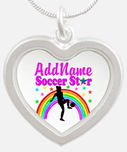 SOCCER PLAYER Silver Heart Necklace