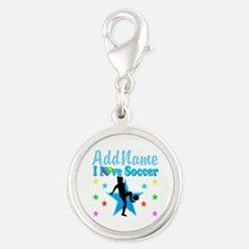 SOCCER PLAYER Silver Round Charm