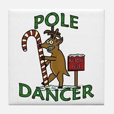 Funny Dancer Christmas Reindeer Pun Tile Coaster
