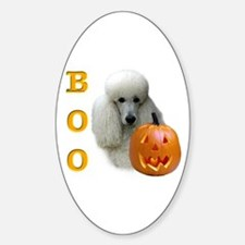 Poodle (Wht) Boo Oval Decal