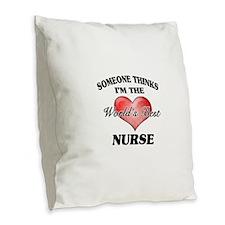 World's Best Nurse Burlap Throw Pillow