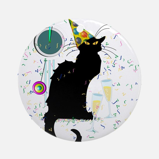 Chat Noir New Years Party Countdo Ornament (Round)