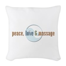 Peace, Love and Massage Woven Throw Pillow