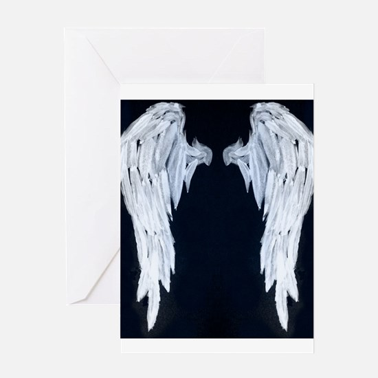 Angel wings blue moon Greeting Cards
