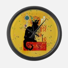 Chat Noir New Years Party Countdo Large Wall Clock